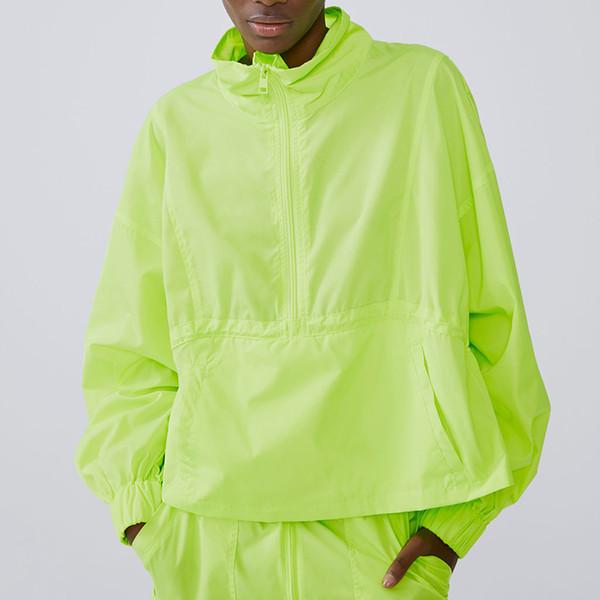 2019 Kadınlar Neon Ceketler Hip-Hop Streetwear Parlak Mont kadın Rüzgarlık Floresan Yeşil Sonbahar Uzun Kollu Fermuarlar Ceketler