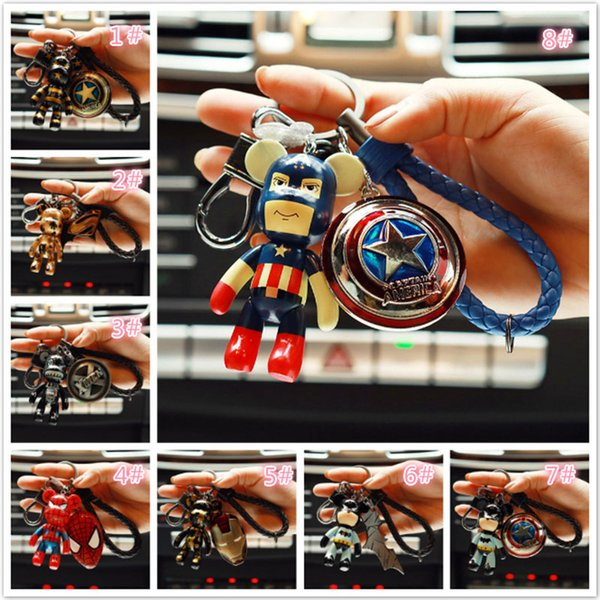 Wh Marvel Avenger Action Figure Keychain Super Hero Spider Man Batman Captain Key Ring Anime Fashion Accessories Packed Kawaii Bags