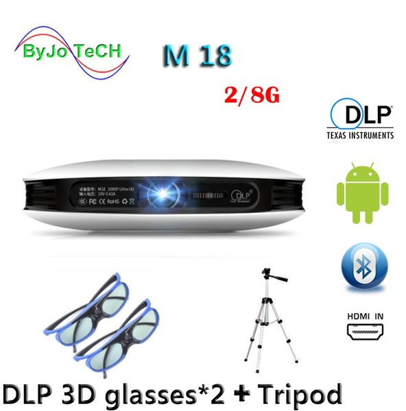 top popular ByJoTeCH M18 projector 2G 8G 3D glasses Tripod 3D Android WIFI Proyector 4K Beamer AirPlay Miracast Built-in battery Vs dlp800w 2019