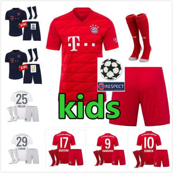 camicie Bayern Monaco Calcio 19 20 Bayern Monaco KID JAMES calcio Jersey 19 20 Bayern Monaco RIBERY MULLER camice 2020 bambini Red Football