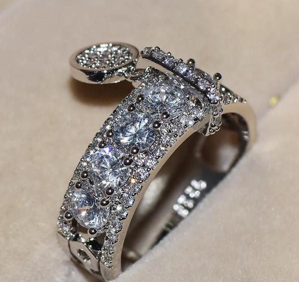Nouveau 2019 Bijoux 925 Sterling Argent Blanc Topaze Claire CZ Diamant Porte-clés Femmes De Mariage Vintage Bague