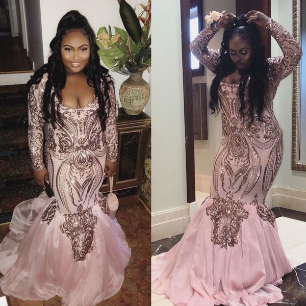 Vintage Plus Size Pink Mermaid Prom Dresses 2019 Sexy Deep Scoop Floor Length Long Sleeve Sequined Formal Evening Black Girl Gowns