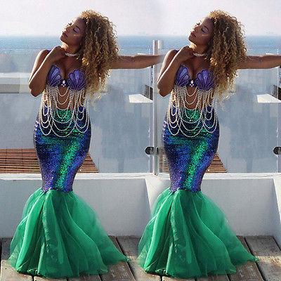 Women Ladies Mermaid Tail Full Skirt Party Maxi Fancy Dress Cosplay Costume UK