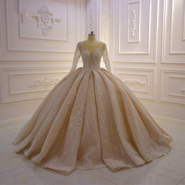 Real Pictures Luxury Champagne Crystal Beaded Long Sleeves Ball Gown Wedding Dresses Vintage Sequined Saudi Arabic Dubai Bridal Gown