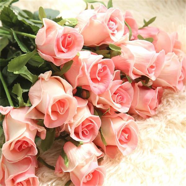 Verdadeiro Toque Elegante PU Subiu Flores Artificiais Simulação Longo Caule Rosa Nupcial Do Casamento Bouquet para Home Office Decoração Artesanato Ao Ar Livre