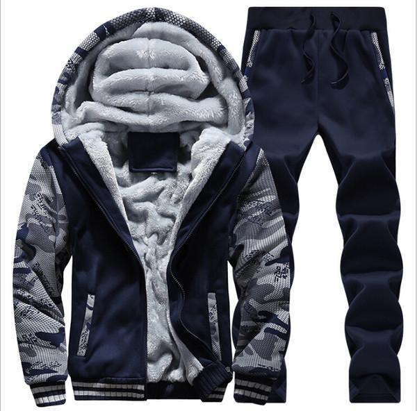 겨울 남성 정장 캐주얼 조깅 정장 스포츠 정장 재킷 바지와 스웨터 세트를 냉각 설정 운동복 따뜻한 남성 양털 땀