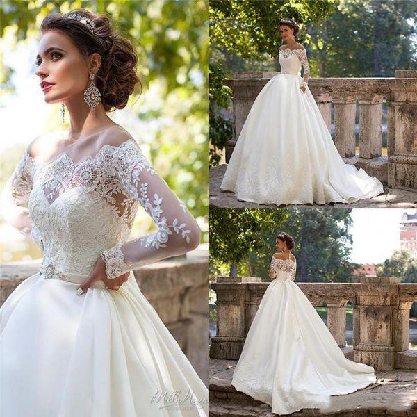 Vintage Milla Nova Wedding Dresses Off Shoulder Long Sleeves Appliques Bridal Gowns Floor Length Wedding Gown