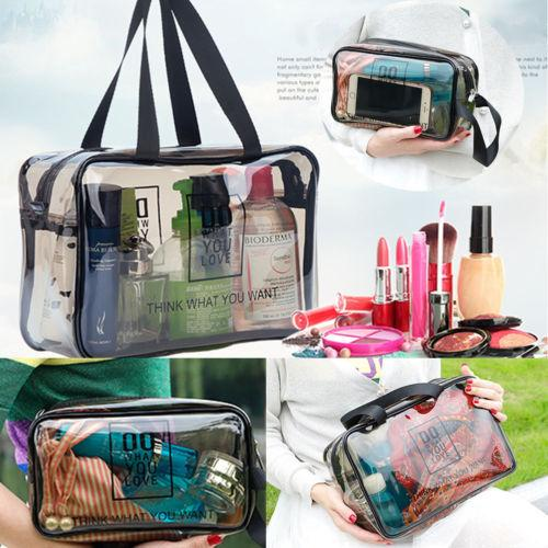 Clear Transparent Plastic PVC Travel Makeup Cosmetic Toiletry Zip Bag Wash Bag Hot New Waterproof Clear Handle Makeup Cool