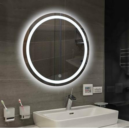 Acheter Salle De Bains Mur Miroir Lumineux Rond Interrupteur Tactile Miroir  Salle De Bain De Maquillage Toilettes Tenture LED Blanc Chaud LLFA Lumière  ...