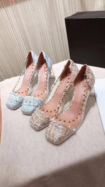 Early spring new square head colored woven cloth Transparent Crystal shoes Rivets, linen, Transparent women shoes