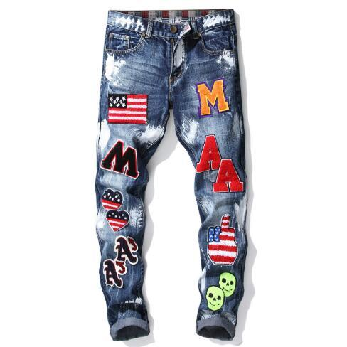 Summer New Fashion Style Mens Designer Jeans Blue Skinny Pencil Jeans Straight Embroidered Flag Badge Paint Mens Slim Brand Jeans