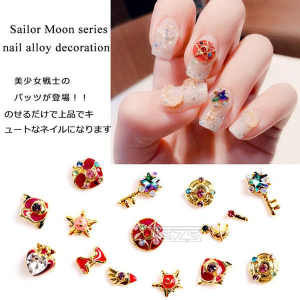 Chiodi di kawaii online-Cheap Strass Decorazioni 10pcs / lot 3D Art Deco Metallo Kawaii Sailor Moon Wand Anello in lega per unghie Accessori per unghie fai da te