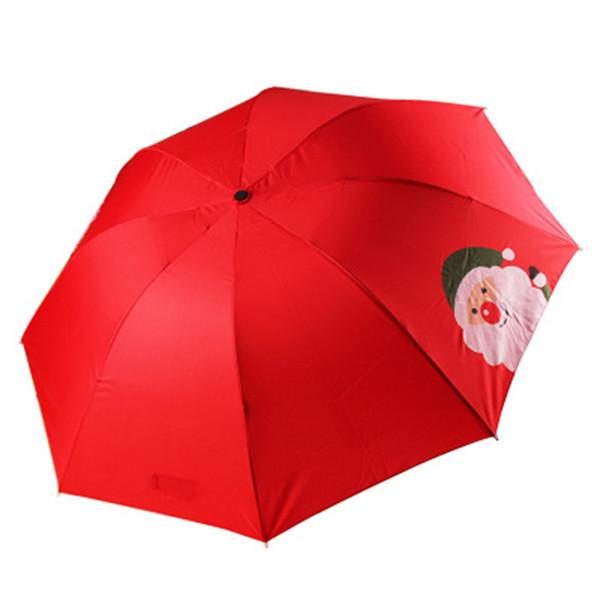 Santa Claus prints a 30 fold umbrella Christmas gift to cover snow umbrella