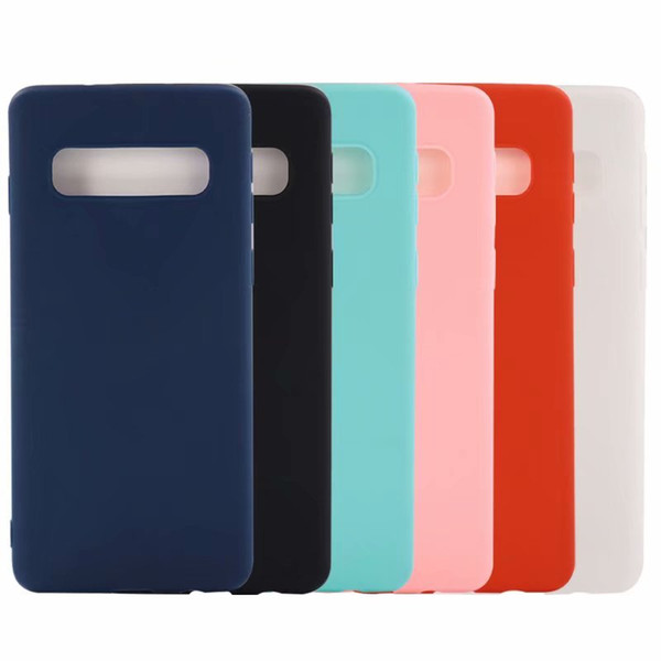 Soft TPU Case For Galaxy S10 Lite Note9 S9 Iphone XS MAX XR X 8 7 6 6S 5 Matte Plain Silicon Cover Colorful Cell phone Case Back Skin Luxury