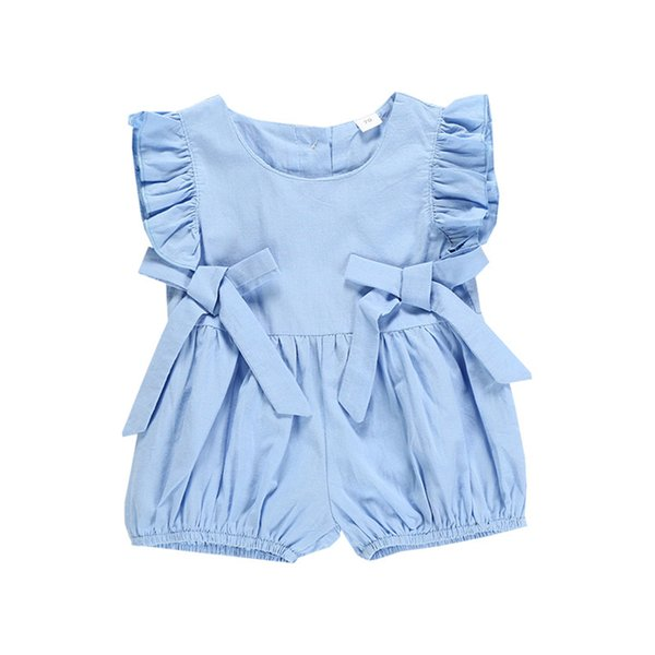 Summer Baby kids clothes Sleeveless Pleated Romper Jumpsuits Blue bow shorts crawling clothes kids designer clothes girls DHL JY371