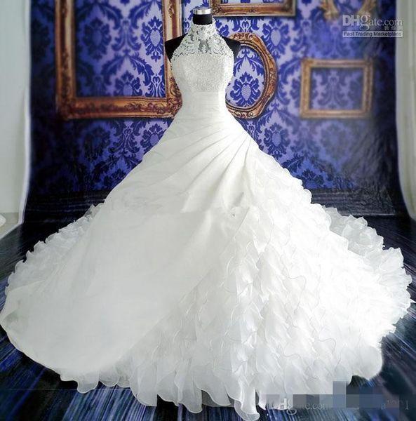 Пользовательские Реальная Картина Белый Бальное Платье Свадебные Платья Оборками Аппликация Кружева Часовня Длинный Поезд Свадебные Платья Высокая Шея Органза Vestido