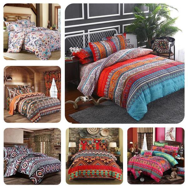 Bohemian vintage cor série de três peças conjunto de cama de luxo Quilt Set canteiro de flores de linho conjuntos de cama de saída de Vida para Crianças decoração Home