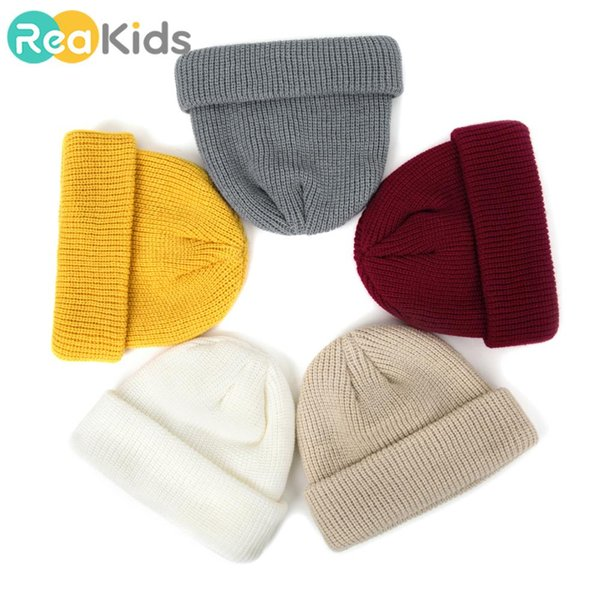 REAKIDS Mode Kinder Eltern-Kind-Hut Neuer Strick Kind-Hut Netter Winter Warmer Unisex Mützen Baby-Kappe