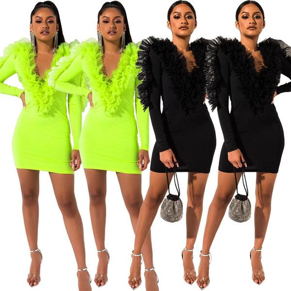 Neon Green Ruffle Sexy Verbandkleid für Frauen Backless V-Ausschnitt Mesh Ärmel Bodycon Kurzes Kleid Herbst Hohe Taille Wrap Club Kleid