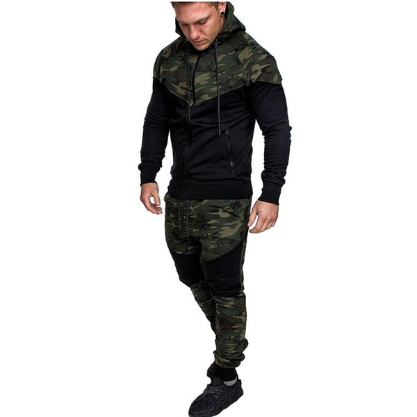 Camuflaje Impreso Hombres Set Causal Patchwork Chaqueta Hombres 2 Unids Chándal Ropa deportiva Sudaderas Con Capucha Sudadera Pantalones Jogger Suit