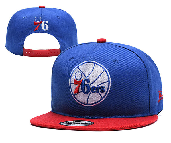 Mens P 76ers Wihte Royal/Red Black Logo Two-Tone Snapback Ball Caps Adjustable Hat 02
