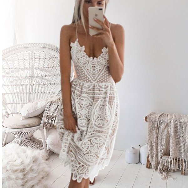 2019 New Beach Long Cover Up Bianco Lace Swimsuit Cover Up Estate Crochet Beachwear Costume da bagno Coprire Ups Beach Dress J190718