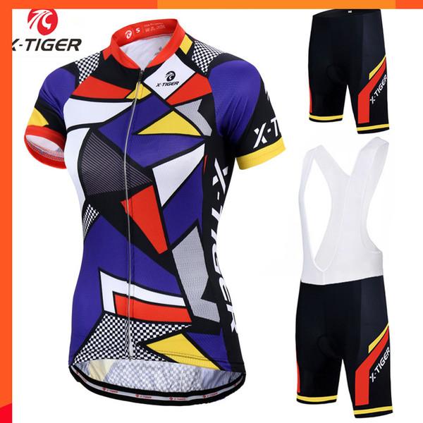 X-tigre mulheres 100% roupas de bicicleta de poliéster de manga curta de verão roupas de bicicleta ropa ciclismo ciclismo jersey set roupas de ciclismo quente