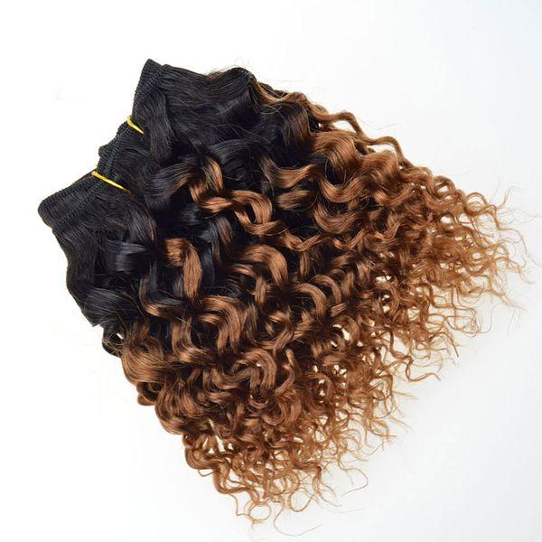 Armure bouclée de cheveux humains courts Bob Virgin T1B / 30 # Ombre Blonde extensions de cheveux Afro Kinky bouclés Bundles de tissage de cheveux brésiliens