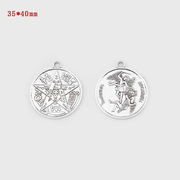 2pcs Antique Silver Large Tetragrammaton Pentagram Pentacle Wicca Pagan Charms