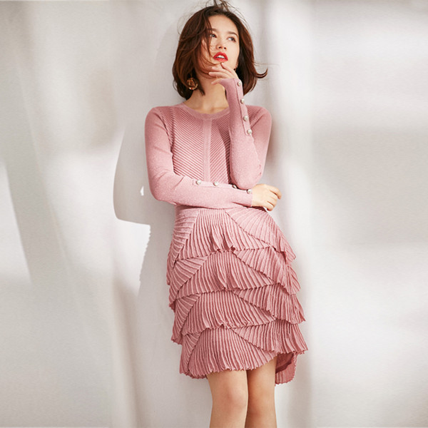 Women girls cute ruffles pleated layered dress long sleeve knit sweater dresses new 2019 spring pink black