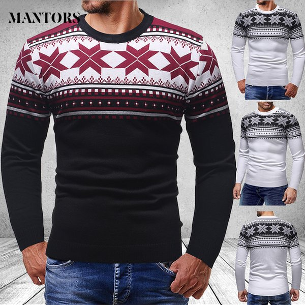 Brand Casual Sweater Men O-Neck Striped Slim Fit Knitting Mens Sweaters And Pullovers Wool Casual Printed Christmas Knitwear New