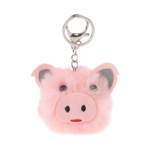 Cute Pig Hairy Ball Car Bag Pendent Key Chains Phone Strap Accessories Plush Toy