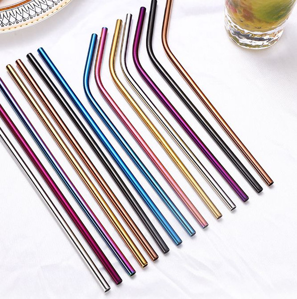 best selling 6*215mm 304 Stainless Steel Straw Bent Straight Reusable Colorful Drinking Straws Metal Straw Eco Friendly Straw KKA7871