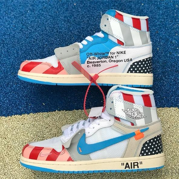 sports shoes e0c85 aa456 OFF WHITE X Air Jordan 1 Custom Basketball Shoes Fragment Design Chicago  White UNC Mens Retro Sneakers For Women Trainers Sport Shoes Leather Shoes  ...
