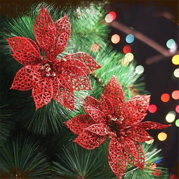 10Pcs Christmas Trees Decor Supplies Glitter Hollow Flower Decor Flowers for Christmas Trees for New Year Wedding Party