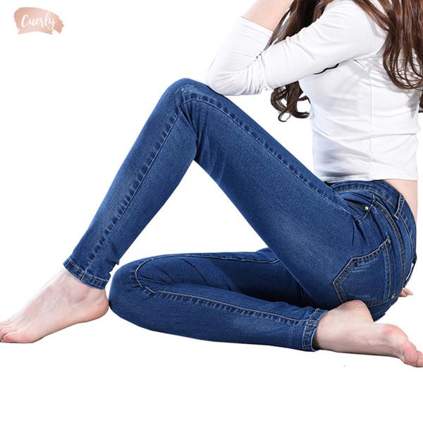 Slim Jeans donna Skinny Jeans Donna Blu Denim pantaloni della matita dei jeans Figura intera Lady Stretch Pantaloni blu Calca Feminina