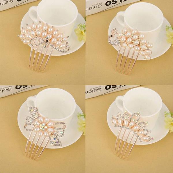 Fashion Floral Bridal Wedding Hair Accessories Sparkling Pearl Crystal Brides Tiara Hair Combs Women Wedding Hair Jewelry