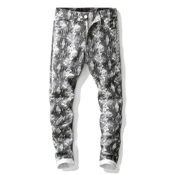 Personality Men Snake Skin Jeans Pants Club Wear Printed Denim Joggers For Youth Slim Fit Hip Hop Painted Trousers Punk Brand Designer Style