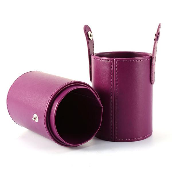 4 Colors PU Leather Makeup Brush Round Pen Holder Cup Cosmetic Brush Bag Brushes Organizer Make Up