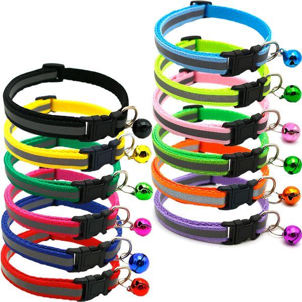 Collar extraíble para el gato con campanas Collar reflectante de nylon Collares ajustables para mascotas para gatos o perros pequeños
