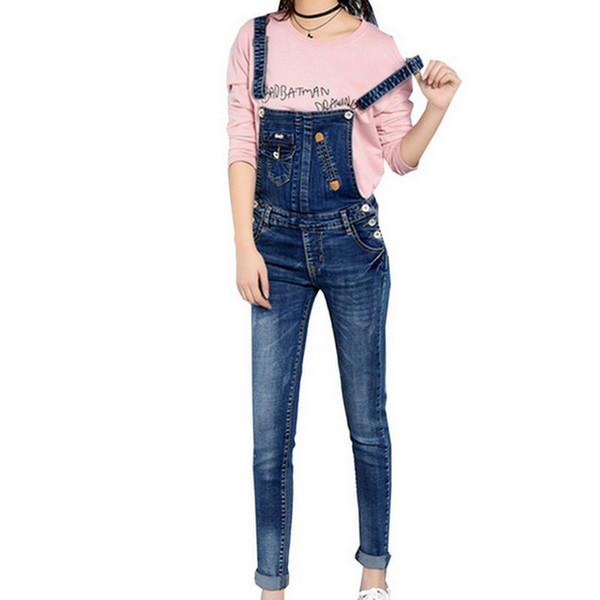 Retro Style Denim Jumpsuit Slim Women Pencil Jeans Overalls Casual Big Size Adjustable Strap Rompers 2017 Summer