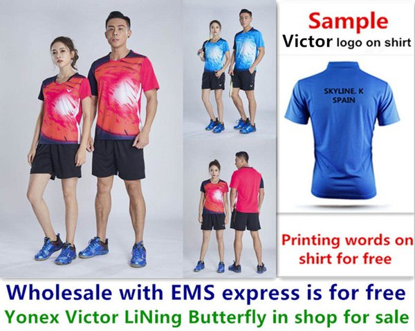 best selling Wholesale EMS for free, Text printing for free, new badminton shirt clothes table tennis T sport shirt clothes b015