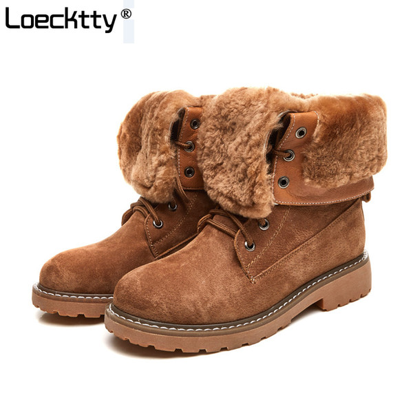 Großhandel Loecktty Winter New Western Style Fashion Stiefel Lederschuhe Frauen Camel Lady Warm Shoe Cross Gebunden Schwarz Martin Stiefel Größe 40