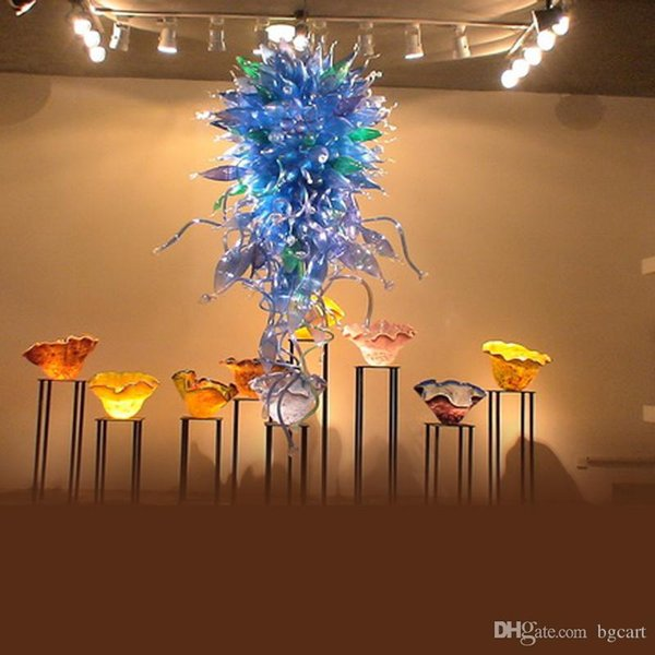 Simple Designed Art Hand Blown Glass Chandeliers Mini Cheap Custom Made Blown Glass Chain Pendant Lamps for Living Room Modern Decoration