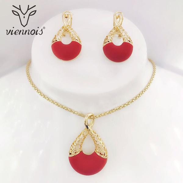 Viennois oro della cavità di colore rosso degli orecchini di goccia in resina insieme dei monili per le donne I monili