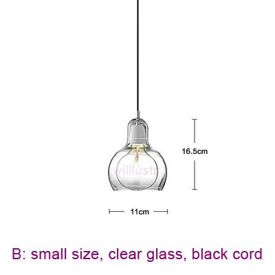 small, clear glass, black cord