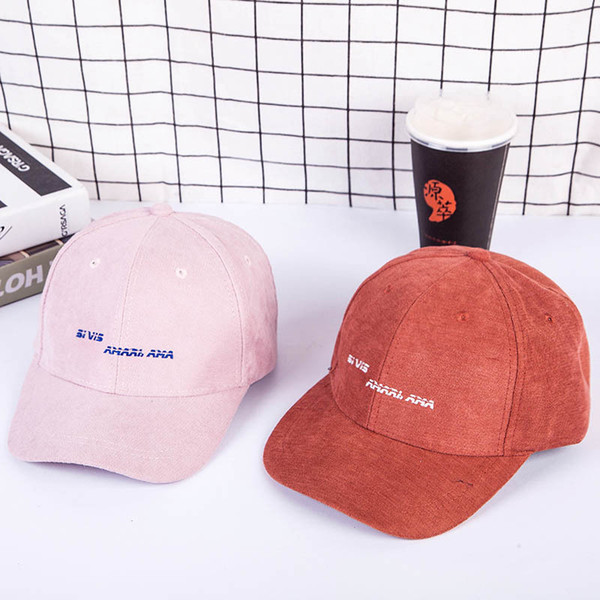 2018 Autumn and winter women hats new loose embroidery letters cap curved dome outdoor windproof baseball caps men Snapback