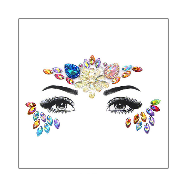 3D Face Shiny Bling Jewelry Glitter Rhinestone Flower Design Body Eye Party Evening Wedding Makeup Decor Flash Gems Temporary Tattoo Sticker