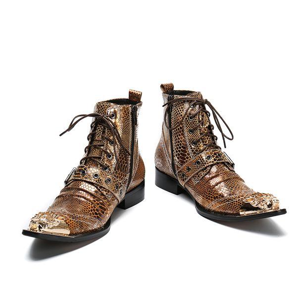 İtalyan Erkekler Ayak Bileği Çizmeler Metal Sivri Burun Erkekler Kısa erkek paty balo ayakkabı Hakiki Deri Altın Lace Up Motosiklet Kovboy Çizmeleri