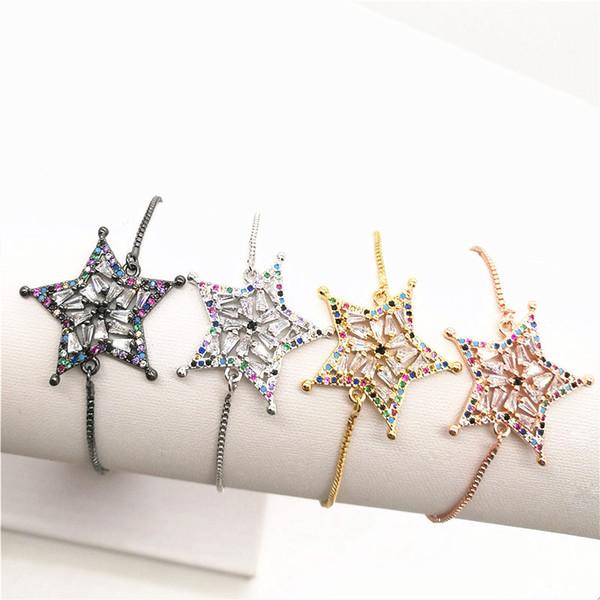 10pcs / lot pavé de couleur Cubique Zircone Star Lien Chaîne Bracelet Réglable Rainbow Bijoux